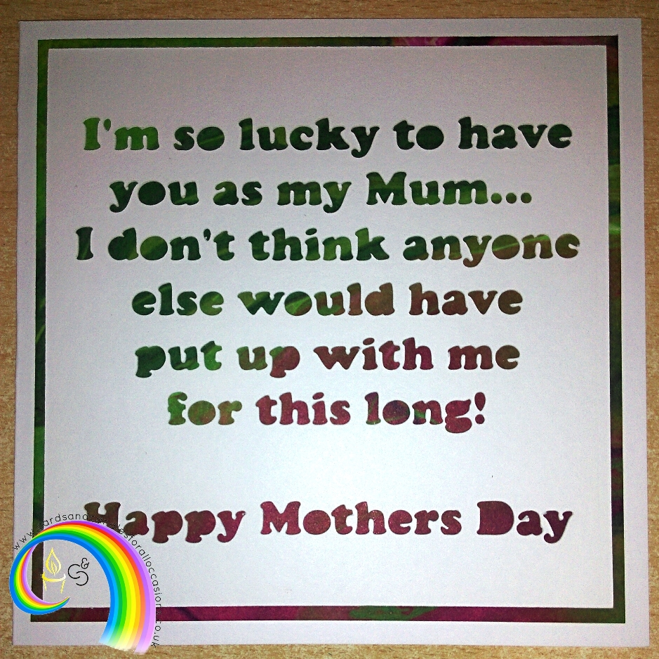 "Handcrafted 6x6"" Greeting Card - Mothers Day (4) - Click Image to Close"