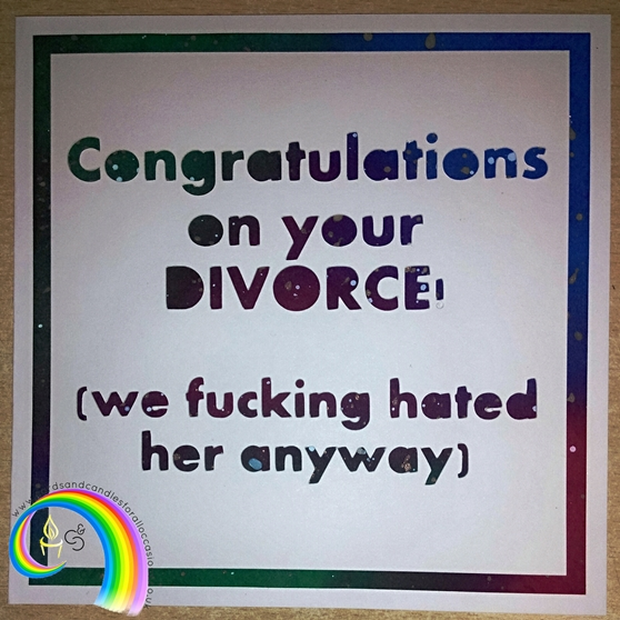 "Handcrafted 6x6"" Greeting Card - Congrats On Your Divorce: HER"