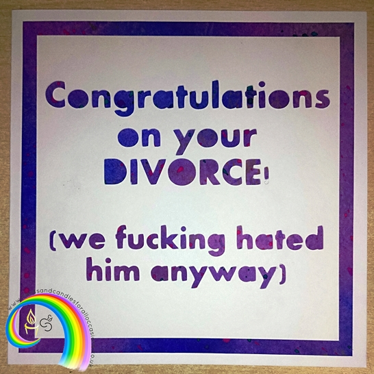 "Handcrafted 6x6"" Greeting Card - Congrats On Your Divorce: HIM"